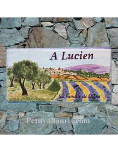 Plaque funéraire en céramique motif paysage provençal avec votre personnalisation