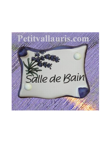 plaque de porte parchemin salle de bain d cor lavande le petit vallauris. Black Bedroom Furniture Sets. Home Design Ideas