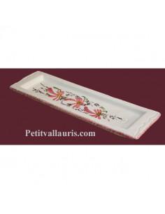 Repose-porte cuillère en faïence blanche motif artisanal décor Fleurs roses