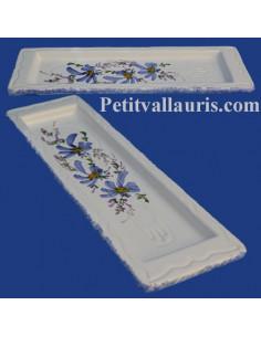 Repose-porte cuillère en faïence blanche motif artisanal décor Fleurs bleues