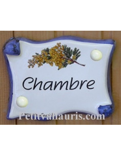 Plaque de porte parchemin Chambre décor mimosas