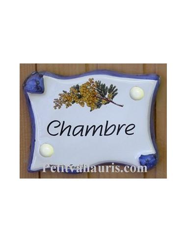 Plaque de porte parchemin chambre d cor mimosas le petit for Plaque decorative porte