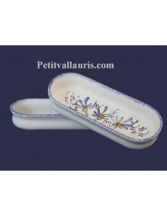 Porte crayon et maquillage Ovale décor Fleuri bleu