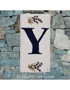 Plaque en faience Lettre (Y) au détail décor Brin de Lavande