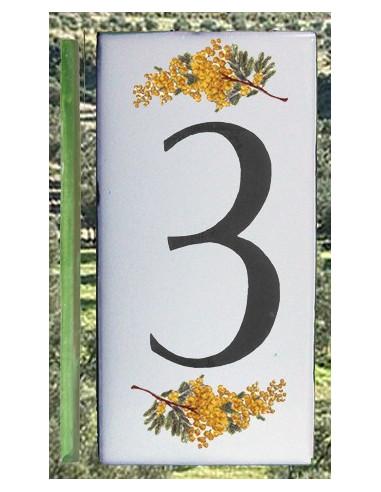 Numero de rue chiffre 3 décor brins de mimosas