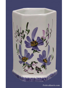 Tube-pot en faience modèle hexagonal décor Fleuri bleu