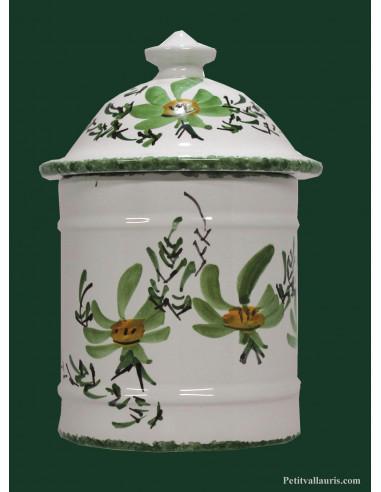 pot coton en c ramique blanche au d cor fleurs vertes. Black Bedroom Furniture Sets. Home Design Ideas