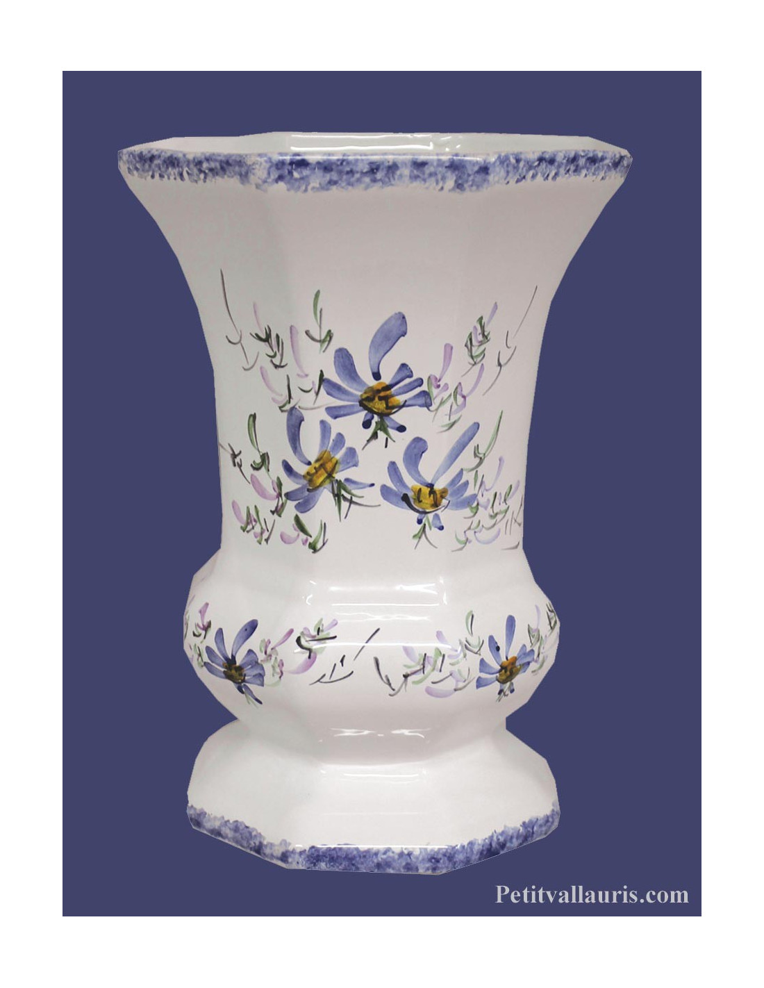 vase mod le m dicis en faience artisanale au d cor fleurs de couleur bleues fabriqu dans le sud. Black Bedroom Furniture Sets. Home Design Ideas