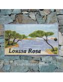 Plaque de Villa rectangle décor personnalisé paysage cap sicié inscription personnalisée noire
