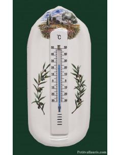 Thermomètre mural décor Oliviers et Olives Provence