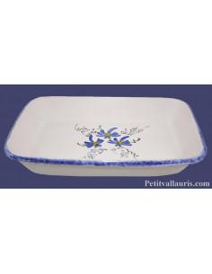 Plat de cuisson et gratin spécial four taille 1 décor artisanal fleurs bleues