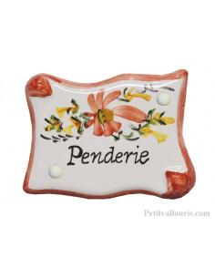 Plaque de porte en faience modèle parchemin fleurs rouges coquelicot inscription Penderie
