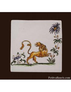 Carreau décor 2210 polychrome Tradition Vieux Moustiers