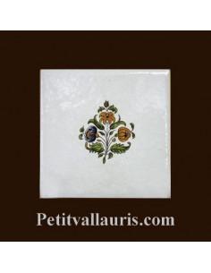Carreau fleur médium polychrome décor inspiration Tradition Vieux Moustiers pose horizontale