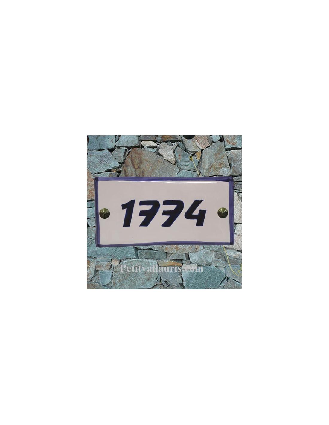 chiffre bleu de porte pour maison et villa d corative en c ramique 10 x 20 cm. Black Bedroom Furniture Sets. Home Design Ideas