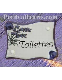 Plaque de porte parchemin Toilettes décor lavande