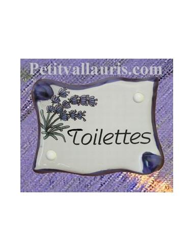 plaque de porte parchemin toilettes d cor lavande le petit vallauris. Black Bedroom Furniture Sets. Home Design Ideas