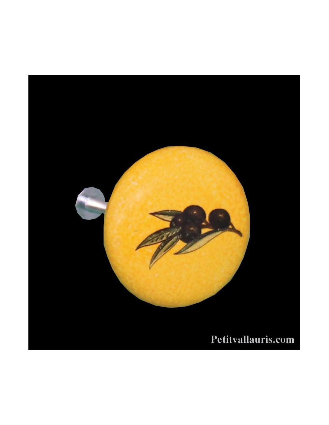 boutons de porte et de tiroir cuisine diam tre 42 en porcelaine jaune proven al aux d cor olives. Black Bedroom Furniture Sets. Home Design Ideas