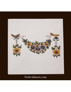 Carreau guirlande polychrome décor Tradition Vieux Moustiers