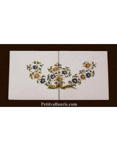 Carreau grande fleur polychrome décor Tradition Vieux Moustiers