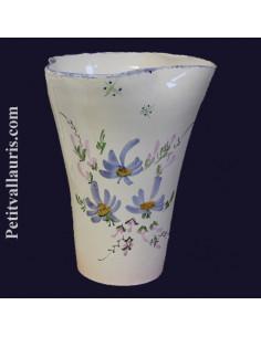 Vase modèle Glaïeul en faïence décor Fleuri bleu 25 cm