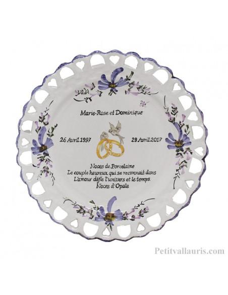 Assiette souvenir de Mariage modèle Tournesol personnalisation noces de porcelaine