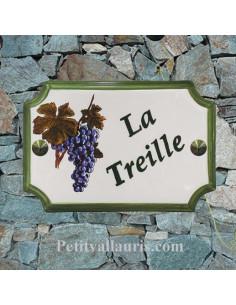 Plaque de Maison en céramique motif grappes de raisin inscription personnalisée verte
