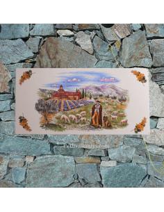 Fresque murale en céramique forme rectangulaire décor Le Berger