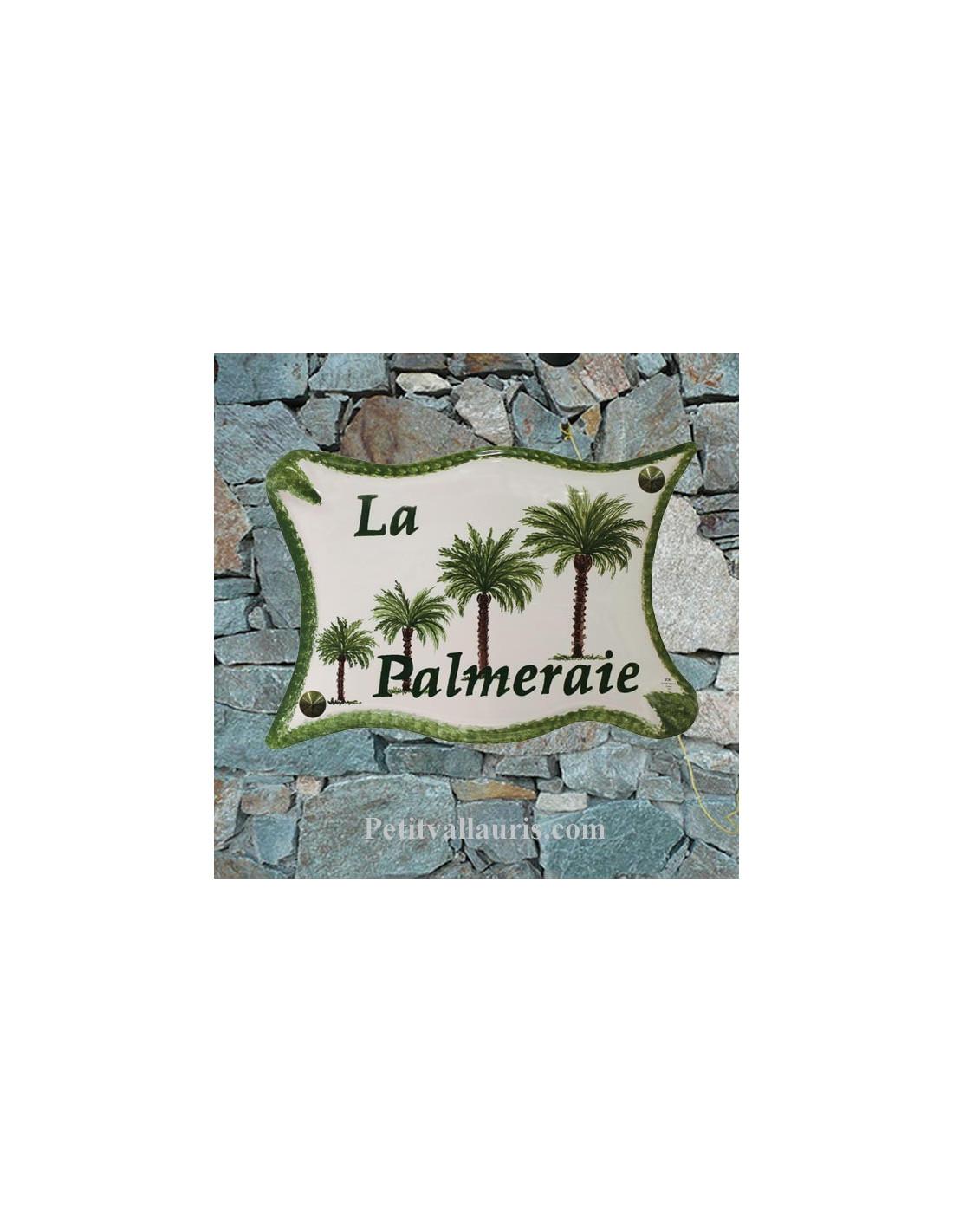 plaque de maison en c ramique maill e au d cor palmiers avec marquage personnalis. Black Bedroom Furniture Sets. Home Design Ideas