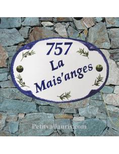 Plaque pour maison modèle ovale en céramique décor brins d'olives bord et inscription bleue