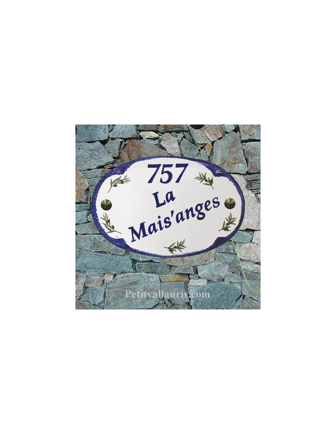 plaque en faience de forme ovale pour fixer l 39 exterieur de votre maison au motifs olives. Black Bedroom Furniture Sets. Home Design Ideas