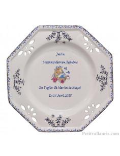 Assiette de baptème personnalisée octogonale décor couffin coloris bleu