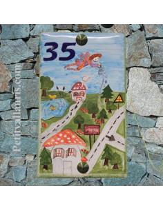 Plaque de maison en céramique motif personnalisé dessin enfant fournit