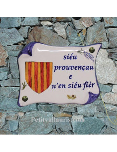 Plaque de Maison parchemin en céramique motif blason provençal et marquage personnalisé