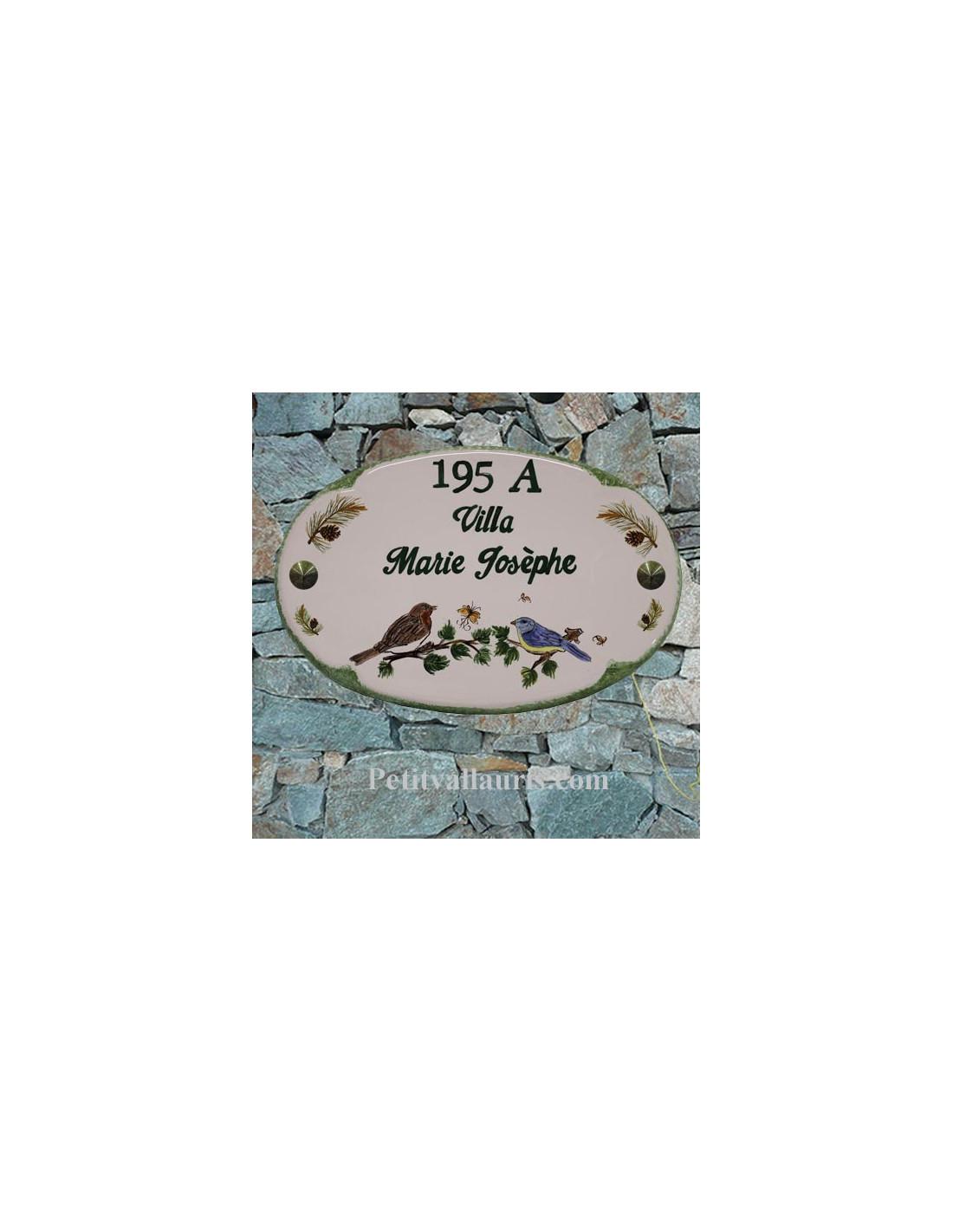 Plaque maill e en c ramique pour nom et chiffre maison for Plaque nom de maison
