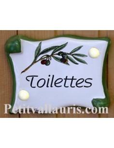 Plaque de porte parchemin Toilettes décor brin d'oliviers