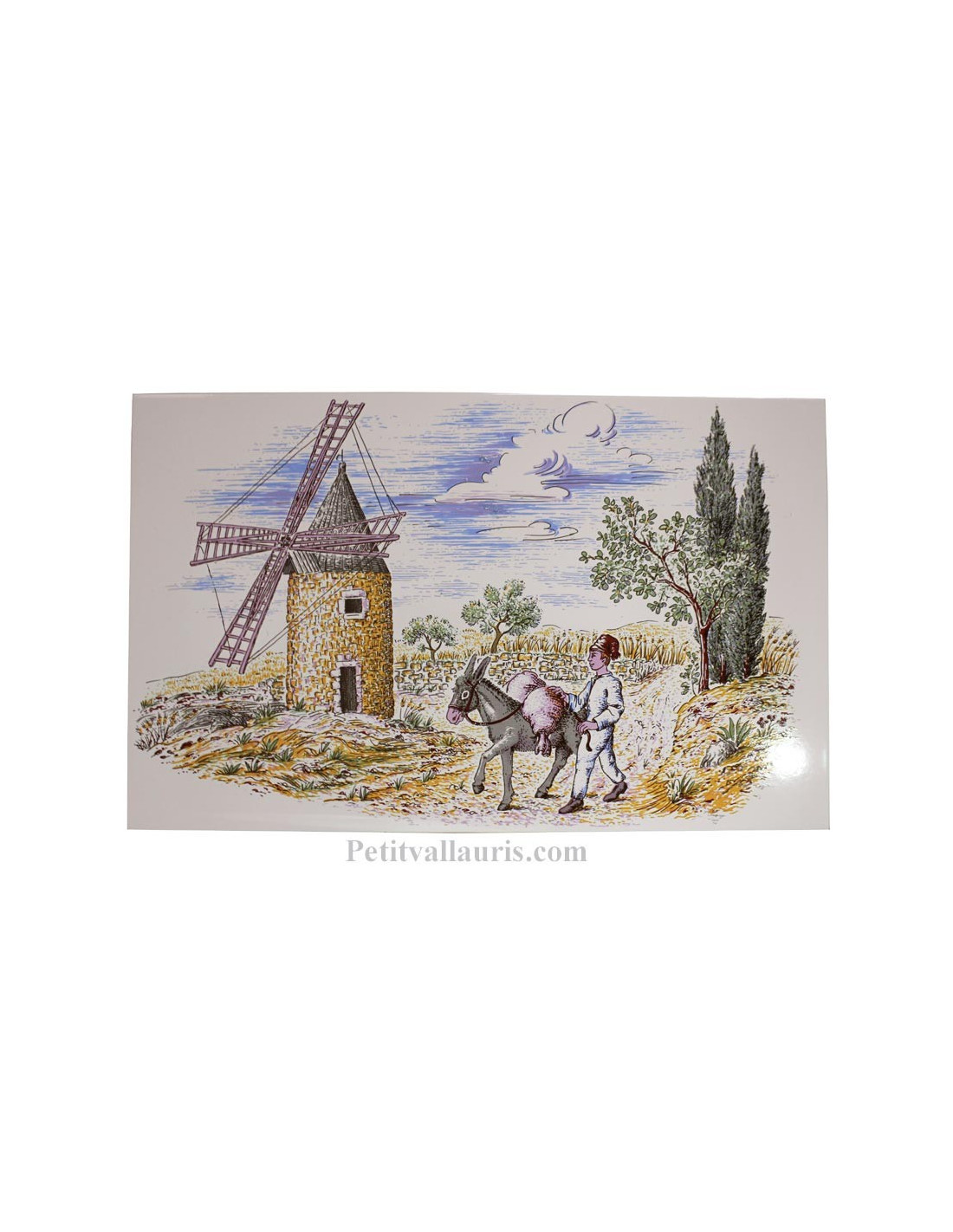 Fresque murale d corative en faience motif motif moulin et for Ceramique murale blanche
