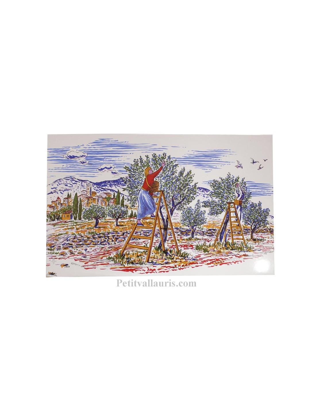 Fresque murale d corative en faience motif motif r colte for Ceramique murale blanche