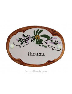 Plaque de porte Ovale en céramique blanche motif fleur verte bord ocre inscription Bureau