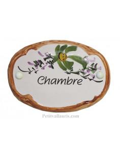 Plaque de porte Ovale en céramique blanche motif fleur verte bord ocre inscription Chambre