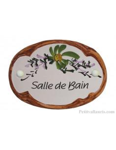 Plaque de porte Ovale en céramique blanche motif fleur verte bord ocre inscription Salle de Bain