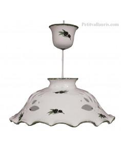 Suspension - lustre en céramique ajourée fond blanc décor olives noires D37