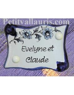 Plaque de porte parchemin vieux moustiers bleu personnalisable