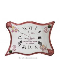 Cadeau personnalisé motif Horloge forme Parchemin souvenir de naissance Fille