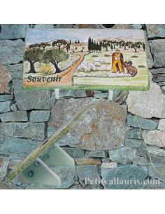 Plaque funéraire en céramique motif paysage berger avec votre personnalisation