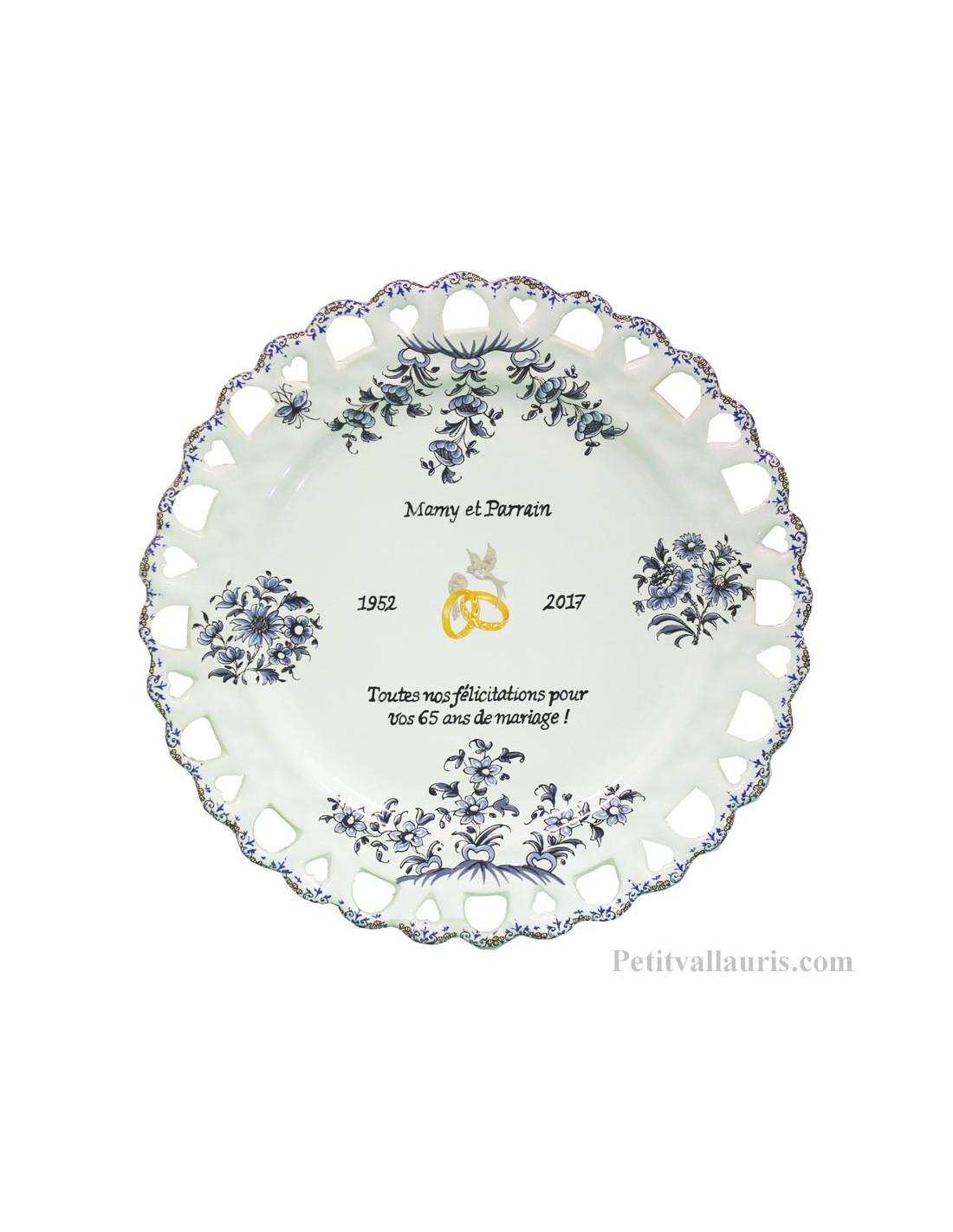 assiette d corative en faience pour souvenir et anniversaire de mariage pour noces de. Black Bedroom Furniture Sets. Home Design Ideas