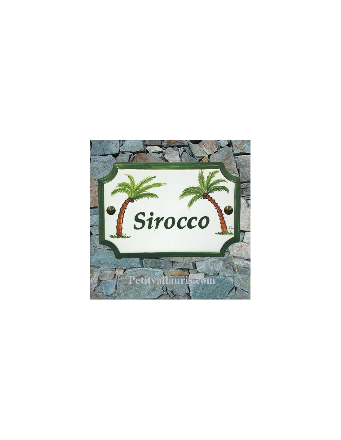 plaque de maison et de villa motif artisanal cocotiers et palmiers gravure personnalis e verte. Black Bedroom Furniture Sets. Home Design Ideas