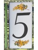 Numero de rue chiffre 5 décor brins de mimosas