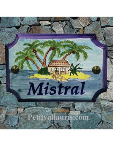 Plaque de Maison rectangle décor et texte personnalisés ilôt et palmiers inscription noire et bord bleu