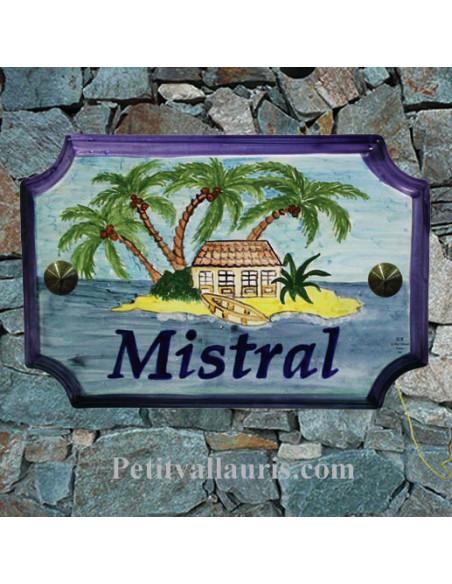 Plaque de Maison en céramique aux angles incurvés motif artisanal ilôt et palmiers + inscription personnalisée